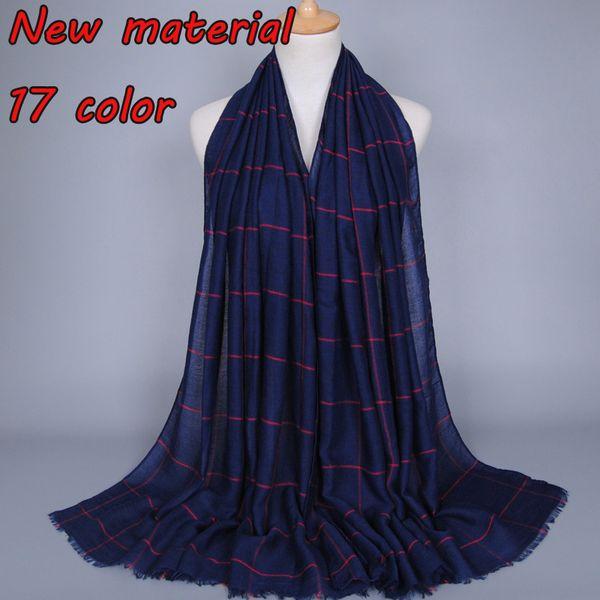 High quality ladies cotton plaid popular shawls muffler headband hijab summer cape muslim scarves/scarf 17 colors