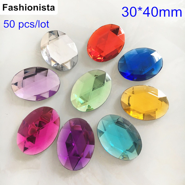 50 Pcs Big Oval Acrylic Cabochon Beads,30*40mm Flat Back Faceted Acrylic Cabochon For Glue-on to Pendant or Decoration For Scrapbooking