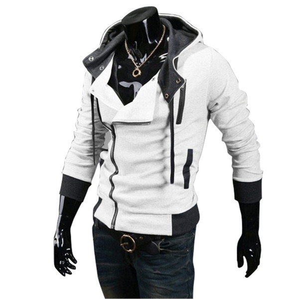 Wholesale- 2016 New Autumn & Winter Oblique Zipper Casual Slim Long Sleeve Hiphop Assassin Creed Hoodies Sweatshirt Outerwear Jackets