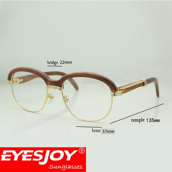 086e7140a0 Brand Designer Wooden brushed Sunglasses prescription Luxury Vintage Gold Frame  Women Clear Lens glasses Wood Mens Sunglasses