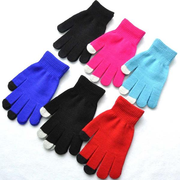 adult five finger gloves touch screen women glove winter hot kids student writing gloves