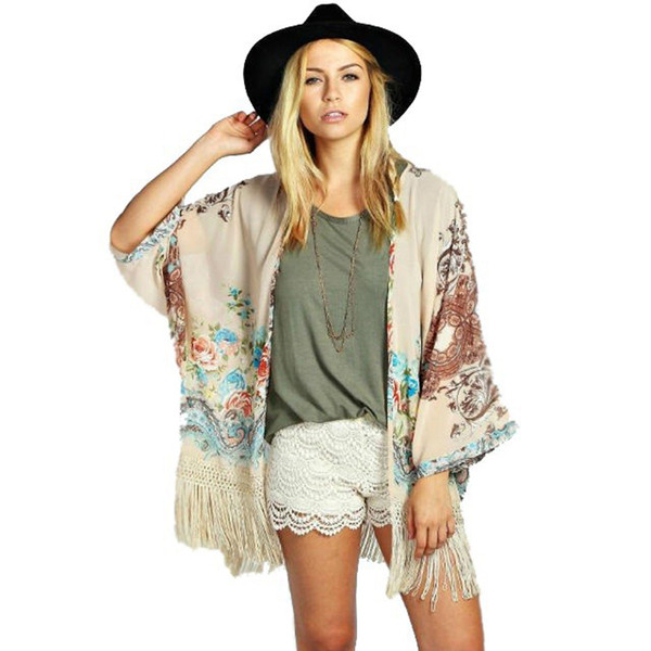 Summer Style Women Vintage Kimono Cardigan Fringe Tassel Cardigan Shawl Position Print Loose Kimono free shipping