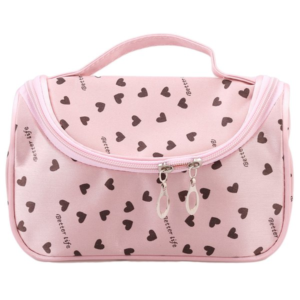Wholesale- 1pc dot women portable storage cosmetic toiletry bag cosmetics case large capacity cosmetic bags travel bags IC602366