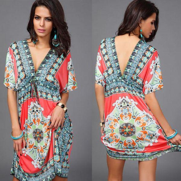 Women Big Size V sexy soft milk silk Boho print midi tribal dresses 2017 summer Ethnic casual loose waist Beach Dress