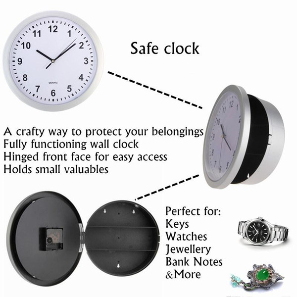 top popular Wholesale-Hidden Secret Wall Clock Safe Money Stash Jewellery Stuff Storage Container Box 2019