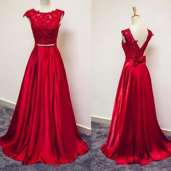f249ae072a9f8 Abendkleider Kırmızı Uzun Abiye Elbise ile Dantel Aplikler ve Yay Robe de Soiree  Kırmızı Balo Elbise