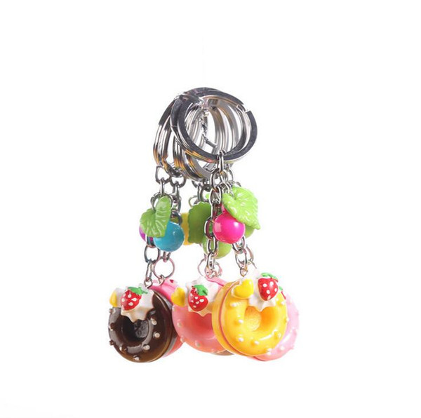 Best gift Metal key ring new colorful circle cake key ring cute key ring girls small gifts KR111 Keychains mix order 20 pieces a lot