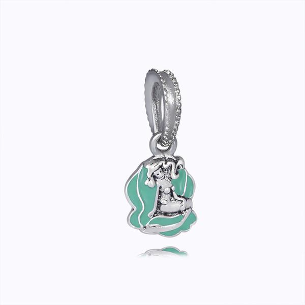 Wholesale- Multicolor Mermaid Fairy Tale Character Crafts Bead Big Hole Charm Pendants DIY Jewelry Accessories Fit Necklace Bracelet JPP246