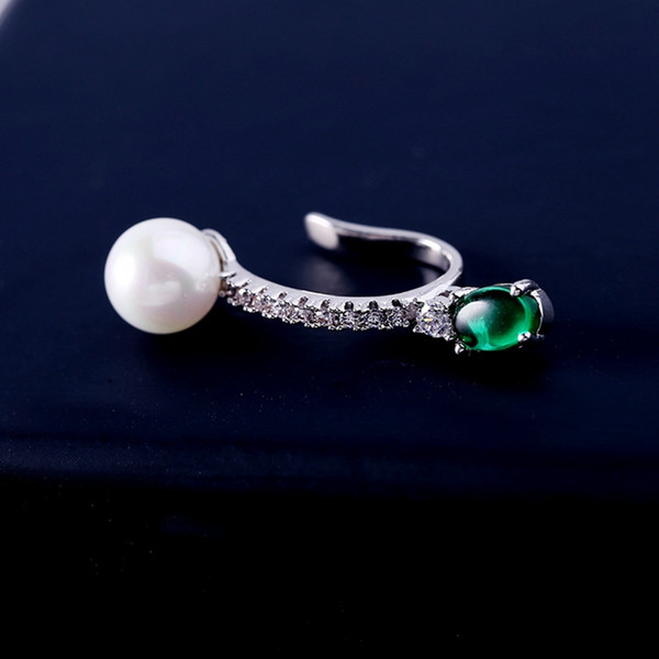 MIGGA 1 PC White Gold Color Imitation Pearl Created Emerald Ear Cuff Clip Earrings for Women No Pierced