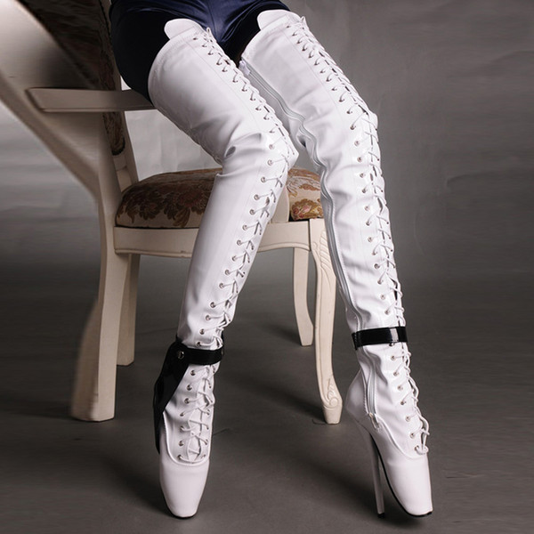 7 Inch High Heel Thigh High Boots Ballet Heels Black/White Sexy Fetish Booties For Women Crotch Boots Custom-Color 18Cm Heel 2017 Plus