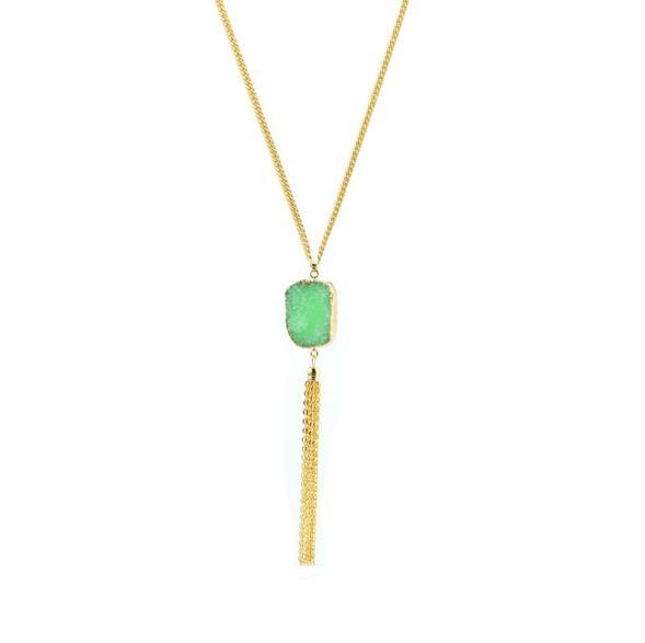 Drusy Druzy Necklace Gold Plated Chain Irregularity Resin stone Pendant Tassel Druzy Necklace For Women Jewelry