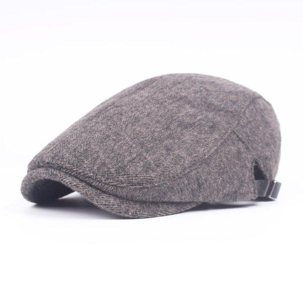 Gros-Mode 2016 Nouveau Mâle Cap Plat Loisirs Hommes Bérets Hiver Chapeau Gentleman Hiver Épais Caps Automne Os Vente Chaude