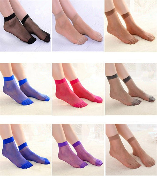 top popular 1000Pairs Sexy Women's Ultra Thin Silk Short Stockings Ankle Low Cut Socks Elastic Clear Short Silk Stockings 4074 2021
