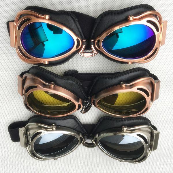 2017 Al Por Mayor Harley gafas de Casco de La Motocicleta Media Cara Cruiser Retro Vintage Helmet Gafas gafas gafas para moto 5 colores