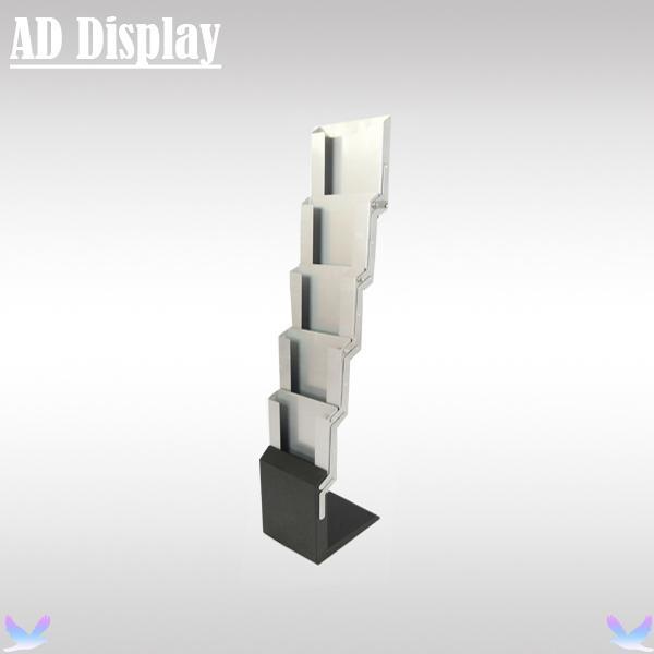 A4 Gümüş Renk Demir Broşür Standı, Reklam Dayanıklı Edebiyat Raf, Dergi Kataloğu Ekran Tutucu Standı