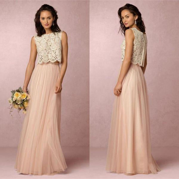Barato 2017 Vintage Blush rosa dos piezas de encaje vestido de dama de honor de tul suave palabra de longitud vestidos de noche de boda Prom vestidos de fiesta