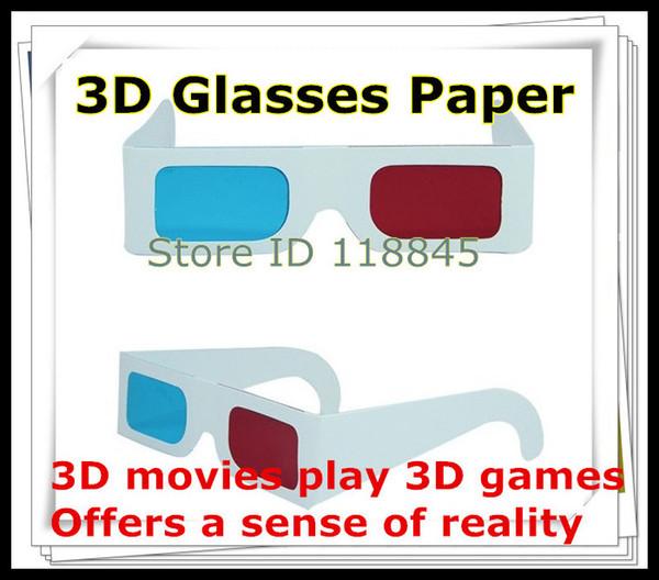 Al por mayor-200pcs / lot anaglyph de papel gafas 3d vista de papel anaglyph rojo cian rojo azul 3d vidrio