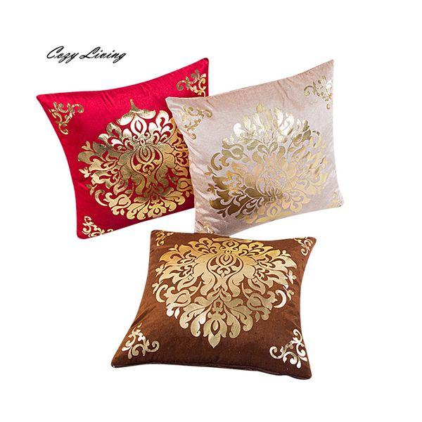 Wholesale- Pillow Cases 45*45CM Vintage Pattern Pillow Case Gold velvet Pillow Cover Fancy Printed Square Pillowcase Wholesales D22