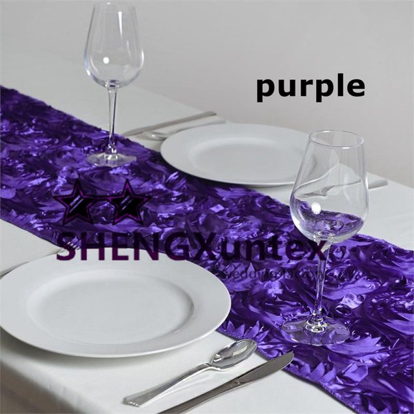 Beautiful Looking Thick Satin Rosette Table Runner For Table Cloth Decoration
