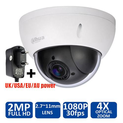 Original Dahua 1080P Mini PTZ IP Camera DH-SD22204T-GN 4X Zoom HD Network Speed Dome Camera Onvif SD22204T-GN with power supply