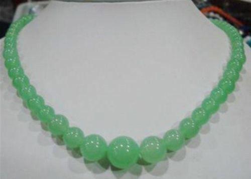 "6-14mm Genuine Gemstones jade Round Beads Jewelry Necklace 18"""