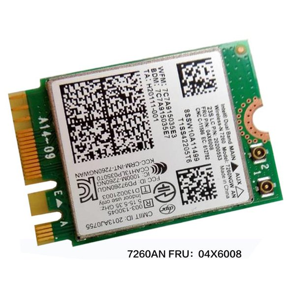 Wholesale- Intel Dual Band Wireless-N 7260NGW 2*2 11agn+BT4.0 M.2 Combo card For Lenovo Thankpad T440 T440P T440S ,FRU 04X6008 20200553