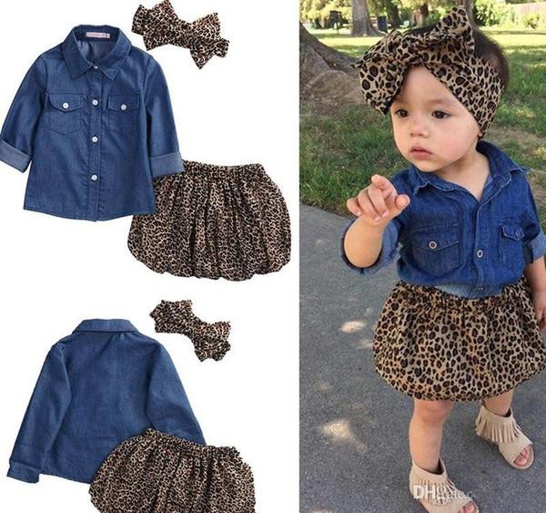 Sistemas de la ropa del verano de la muchacha Toddler Denim Tops azules + trajes de la falda del leopardo diadema del arco grande del leopardo 3pcs fijados