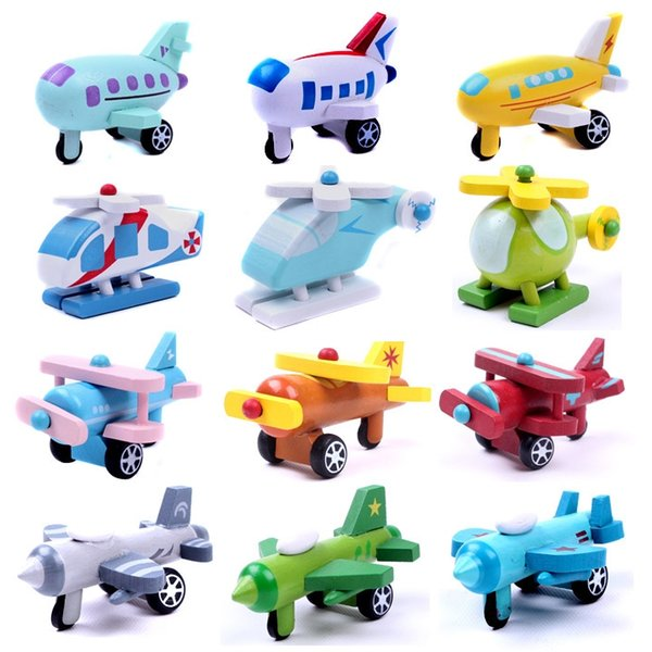 12pcs/lot Wooden Plane vehicle Girls and Boys Toys Education Chritsmas Gifts for children The plane model