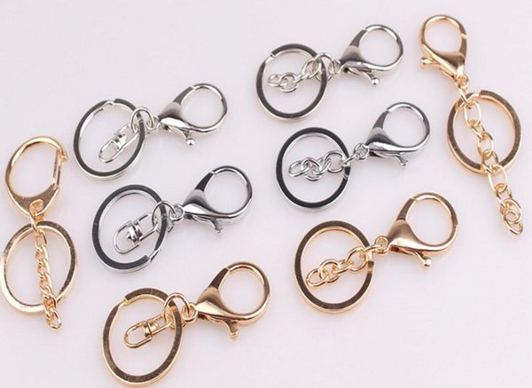 Silver/Gold Biger Lobster Clasp Tone Key Chains & Key Rings Round Split keychain Car Key Rings Blank Metal Keychains Jewelry Accessories