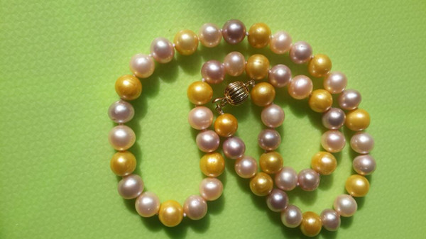 New Fine Pearl Jewelry 18inch 8-9mm Akoya Natural pink purple golden Pearls Necklace 14K