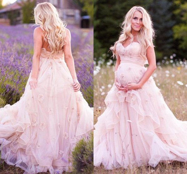 2017 Sexy New Pink Maternity Wedding Dresses Sweetheart A Line ...