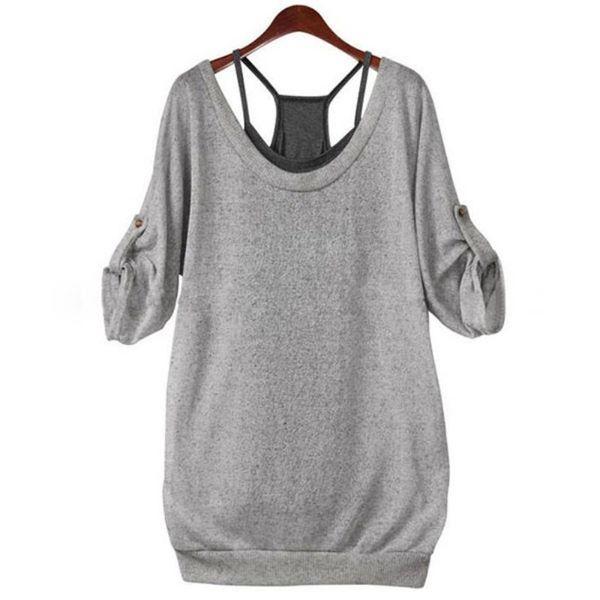 Wholesale-COCKCON Autumn 2016 New Fashion Ladies Women Loose Cotton Long Sleeve Back Hollow T Shirt Tops Tees + Vest 2 Pcs Set