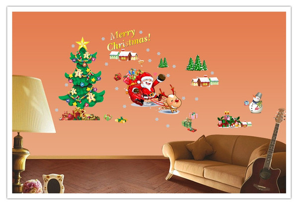Hot Creative Santa Snowman New Year Layout Living Room Window Background Decoration Removable Paster Of Wall Painting