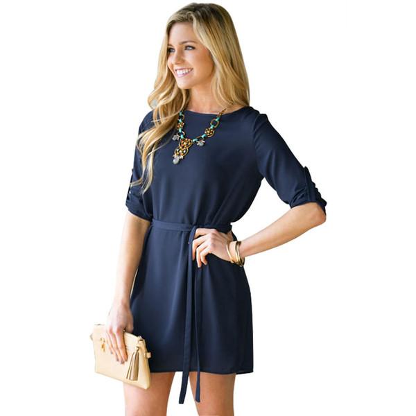 Compre 2016 Vestidos Casuales Cortos De La Primavera Del Otoño Para Las Mujeres Vestido Azul Marino De La Gasa De La Manga Larga Del Cuello Redondo A