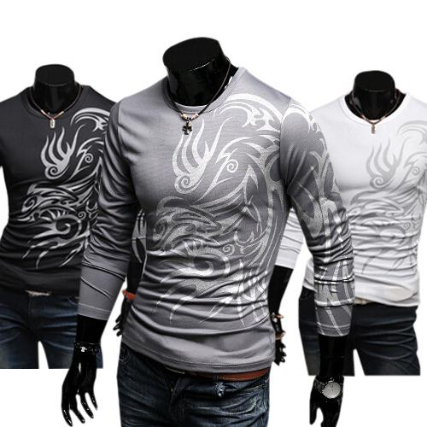 Großhandels- 2016 hotMen stilvolle Baumwollmischungs-Rundhalsausschnitt-Oberseiten Drache-Totem-Tätowierung druckte langes Hülsen-T-Shirt Herbst 8RTC
