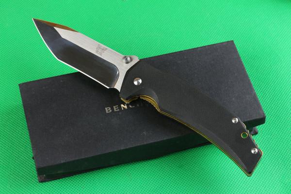 Venda quente BENCH-MADE tático faca dobrável sobrevivência camping caça EDC BOLSO dobradura faca 5cr15 lâmina G10 + cobre chapeamento alça