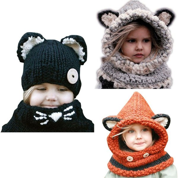 Kawaii Cat Fox Ear Baby Knitted Hats with Scarf Set Winter Windproof Kids Boys Girls Warm Shapka Caps Children Beanies OOA3729