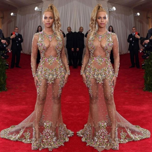 best selling 2019 Sheer Beaded Evening Dress Beyonce Met Ball Red Carpet Dresses Nude Naked Celebrity Gown See Through Formal Wear Sweep Train Backless