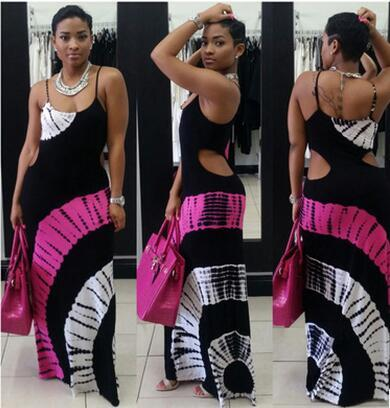 2017 new summer print harness dress skirt African style clothing fashion sexy Slim hollow back casual dresses for women