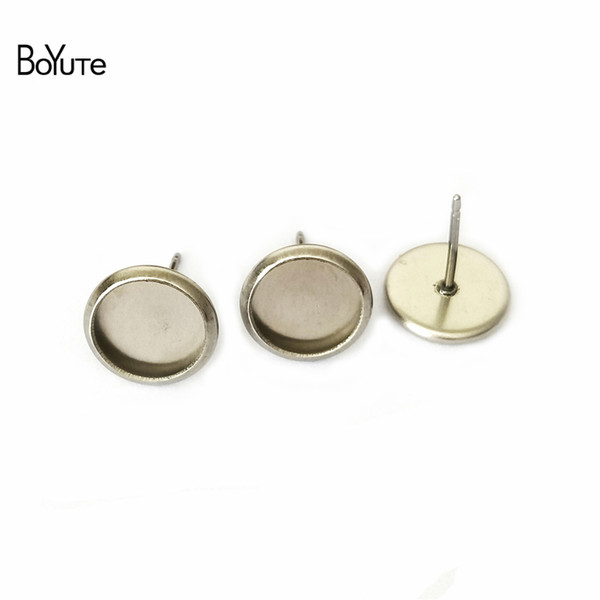 top popular BoYuTe 100Pcs Round 8MM 10MM 12MM 14MM Cabochon Base Setting Stainless Steel Stud Earring Blank Tray Diy Jewelry Making 2019