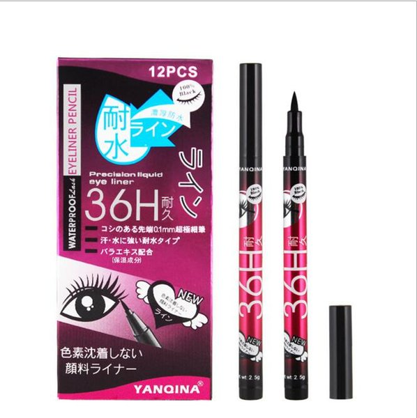 New 36h waterproof liquid black eyeliner pencil kid re i tant eye liner pen for co metic makeup home u e quality whole ale dhl free