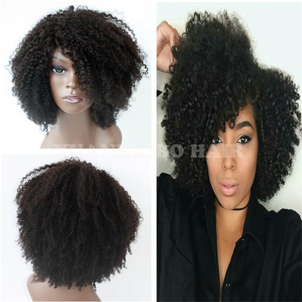 Alta qualidade 1b virgem indiano cabelo curto kinky curl peruca dianteira do laço para as mulheres negras frete grátis