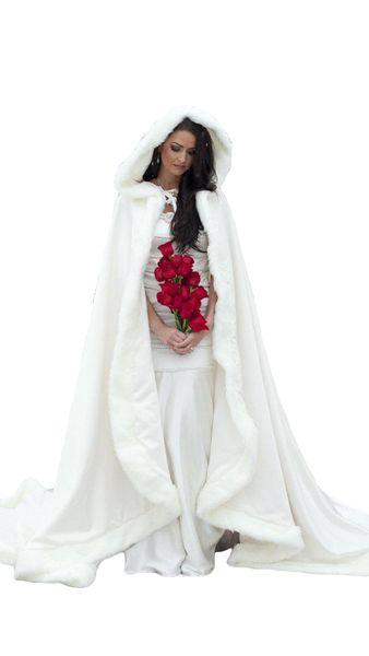 Elegant Winter Fur Bridal Coat Wraps Jackets with Hat Cheap 2018 Bridal Wraps Warm Newest Long Wedding Cloak Capes Bolero