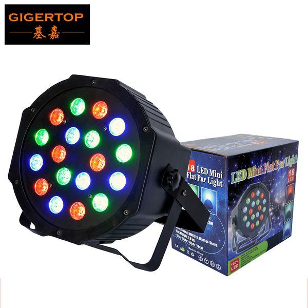 TIPTOP Stage Light 18*3W Plastic Flat led Par Light DMX 512 Control 3/6 Channels Dual Mode Single RGB Color Linear Dimmer Strobe Effect