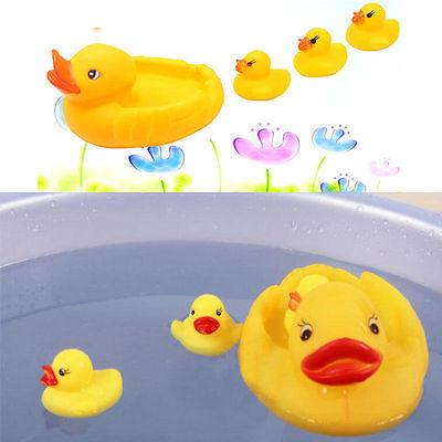 Großhandels- 1 Satz 4pcs nette gelbe vier Enten-Baby-Kindkinder, die schwimmende Gummispielwaren spielen 2017 heiße Spielwaren Babyspielwaren