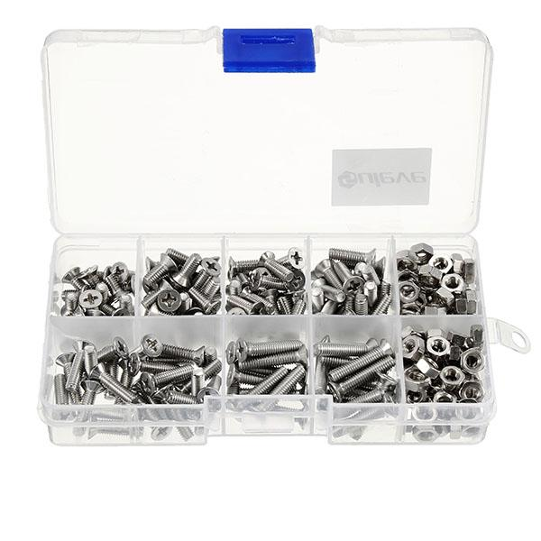 M4 Stainless Steel Phillips Round Flat Head Screws Bolts Nuts Assortment Kit 250Pcs