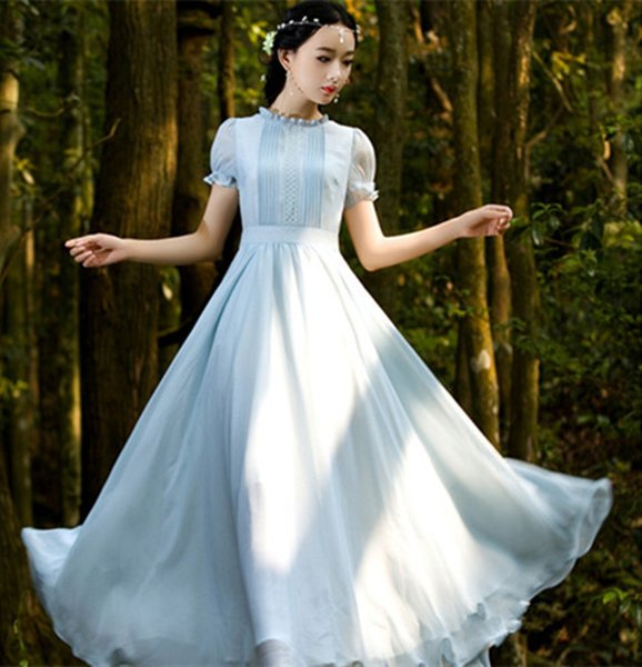 Women Lady Summer Fashion Light Blue Retro Chiffon Big Swing Short ...