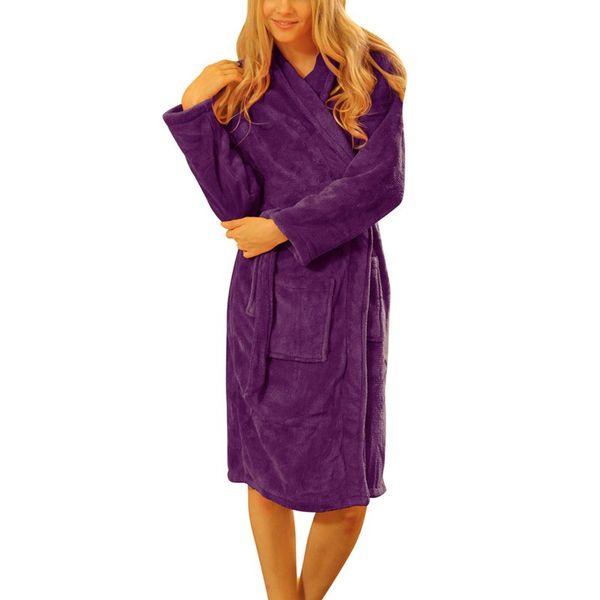 Atacado- Mulheres Soltas Coral Velo Longo Noite Robe-Sleepwear Gola Xale Roupão de Banho Spa Inverno Quente Vestir