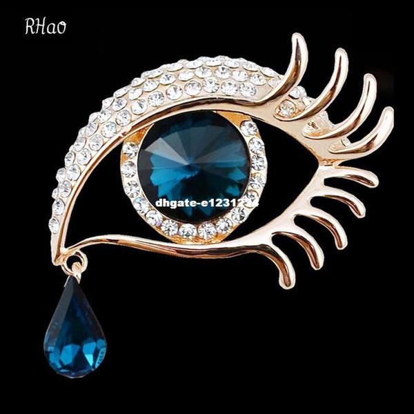 Mujeres elegantes Rhinestone Crystal grandes broches del ojo para el banquete de boda de las señoras Waterdrop Angel Tears Broches pernos para las mujeres joyería
