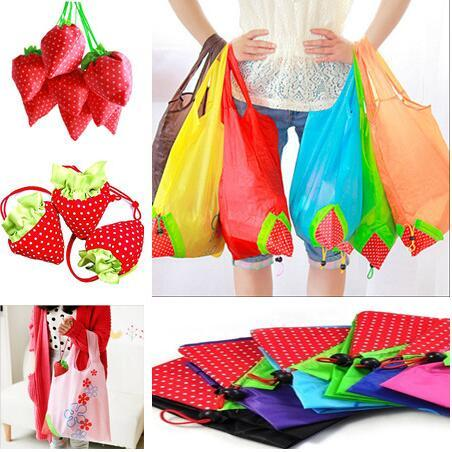 best selling New Creative Nylon Cute Strawberry Shopping Bag Reusable Eco-Friendly Shopping Tote Portable Folding Foldable Bags pouch Go Green